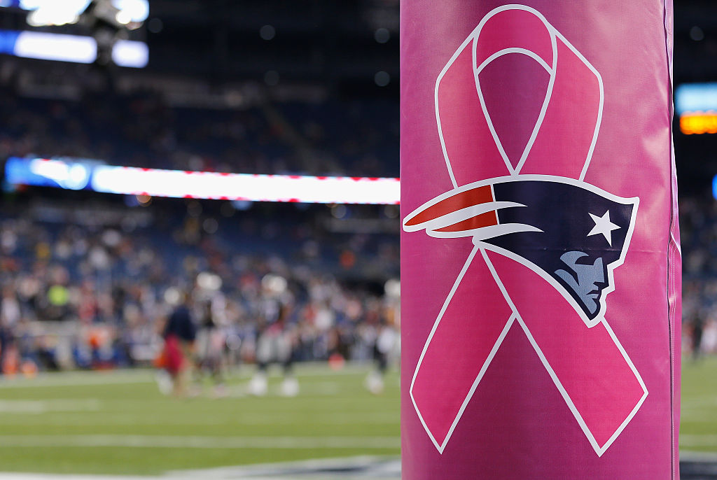 A goal post with the breast cancer logo is shown before a game between the New England Patriots and the Cincinnati Bengals