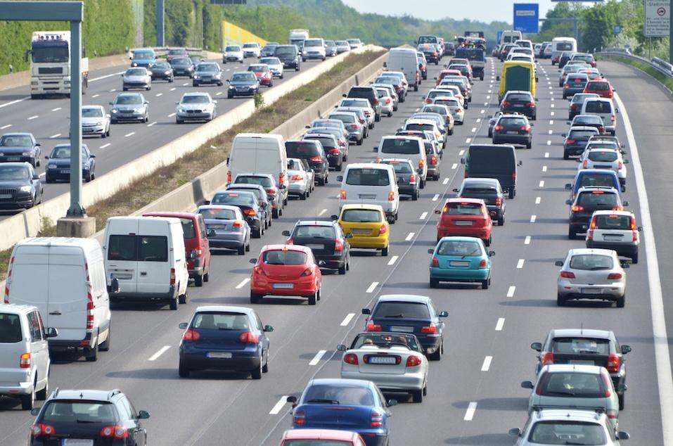 traffic-jam on 4-lane highway at rush-hour