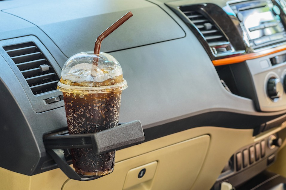 fountain drink in a car cupholder