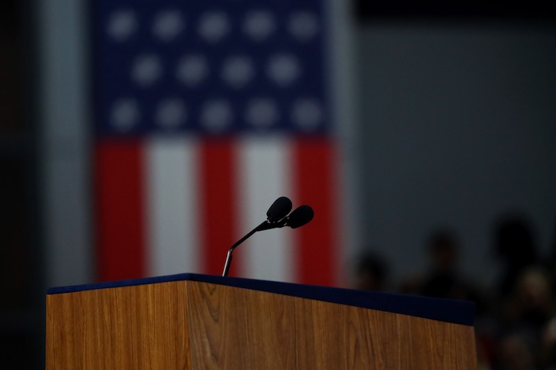 The podium on stage at Democratic presidential nominee Hillary Clinton's election night event