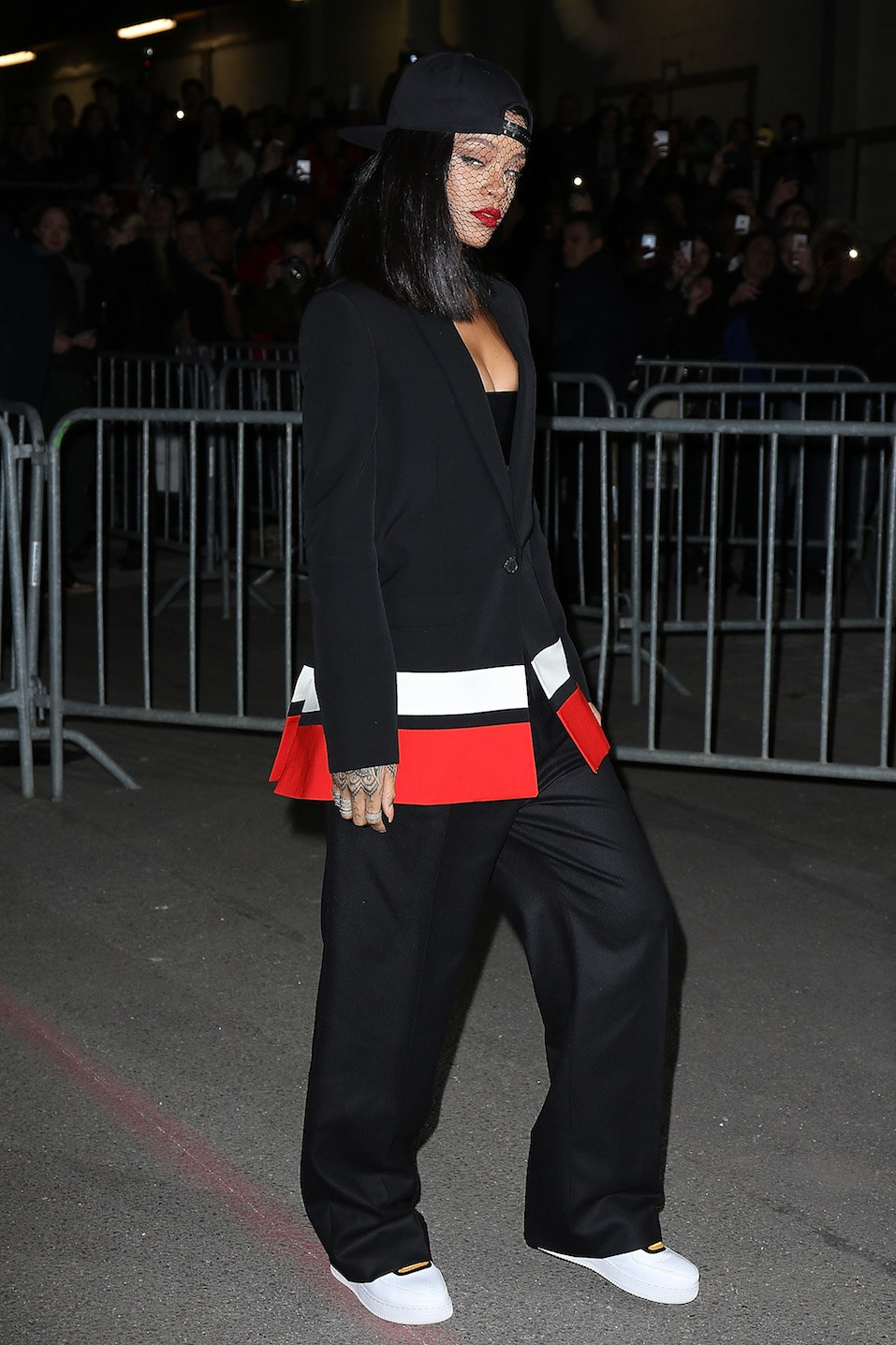 Rihanna attends the Givenchy show as part of the Paris Fashion Week