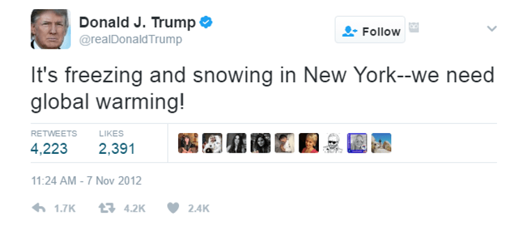 One of Donald Trump's tweets on global warming