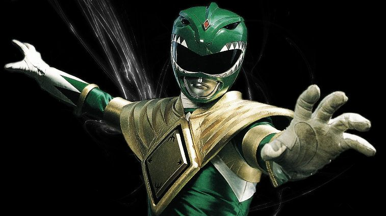 a power ranger with his hands out