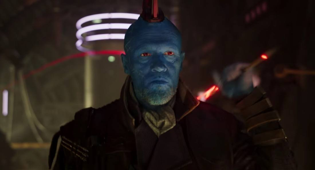 Michael Rooker's Yondu aims his flaming arrow in Guardians of the Galaxy 2