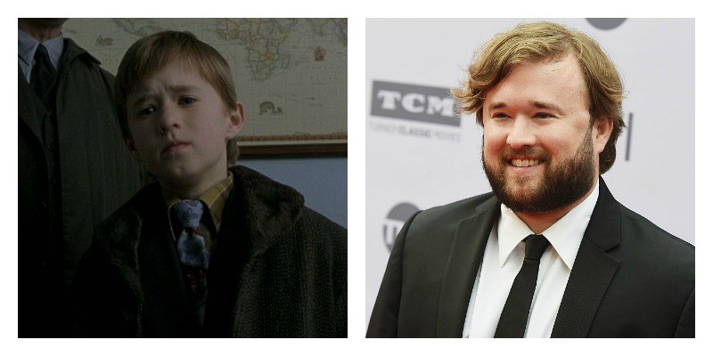 On the left is a picture of Haley Joel Osment looking down in The Sixth Sense. On the right is a picture of Haley Joel Osment smiling on the red carpet.