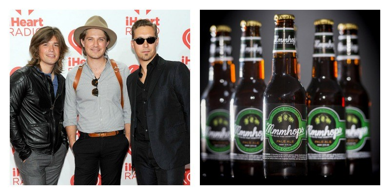 On the left is a picture of the Hanson brothers on the red carpet. On left is a picture of bottles of MmmHops lined up.