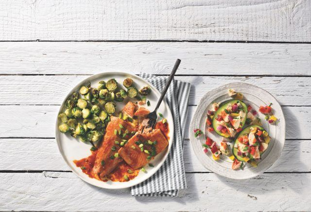 Honey Sriracha Salmon with Roasted Brussels Sprouts