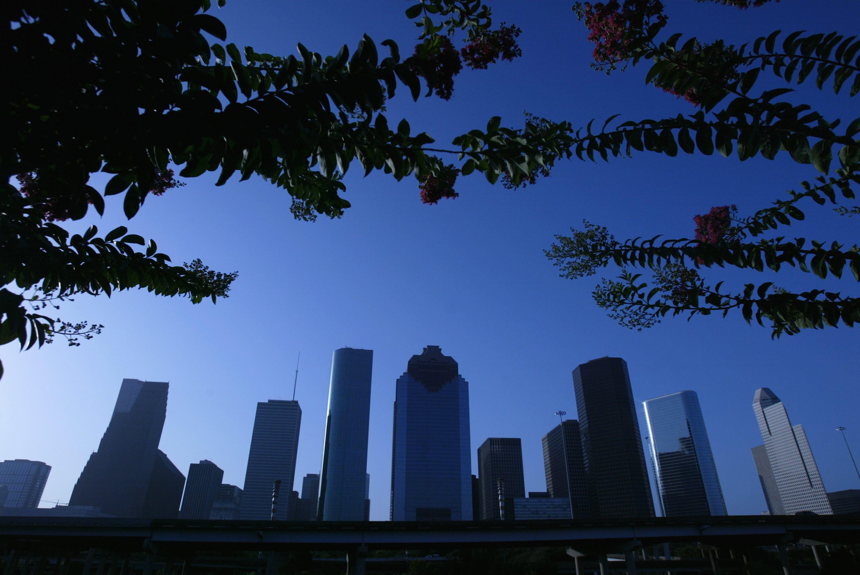 The Houston skyline on a summer day