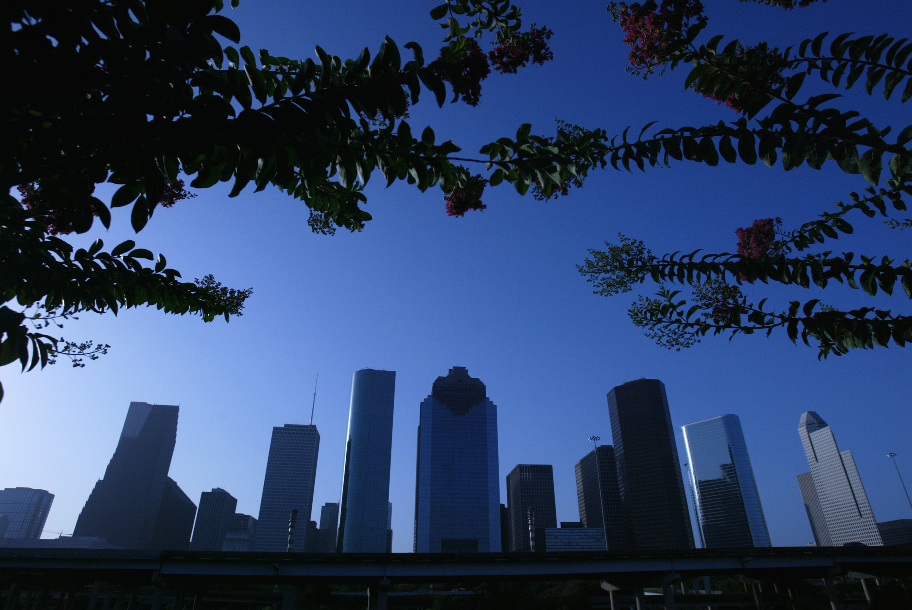 The Houston skyline on a summer day