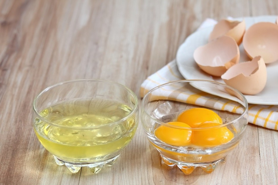 separated egg whites and yolks