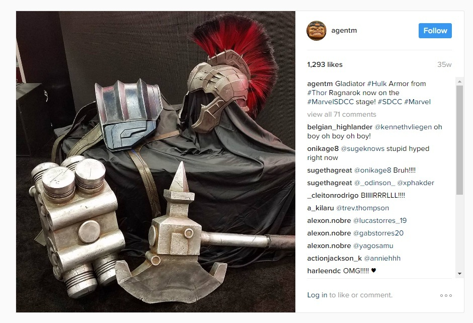 A shoulder guard, helmet, battle ax, and other pieces of Hulk's armor ensemble