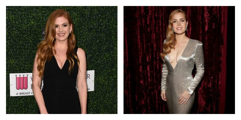 On the left is a picture of Isla Fisher in a black dress. On the right is a picture of Amy Adams in a metallic dress.