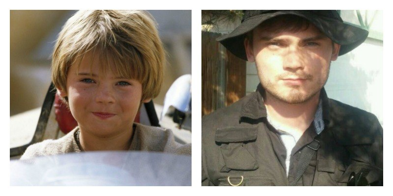 On the left is a picture of Jake Llyod in The Phantom Menace. On the right is a picture of Jake Llyod in a selfie.