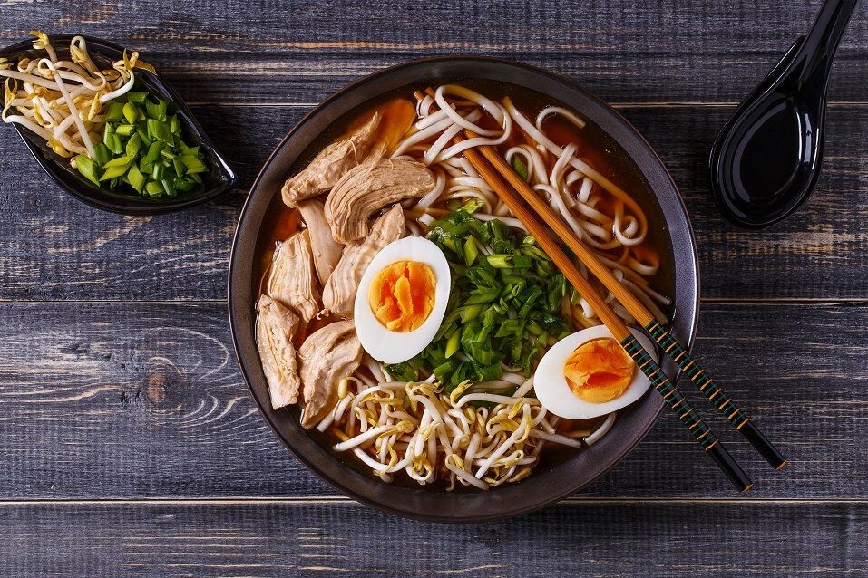 Japanese ramen soup with chicken, egg, chives