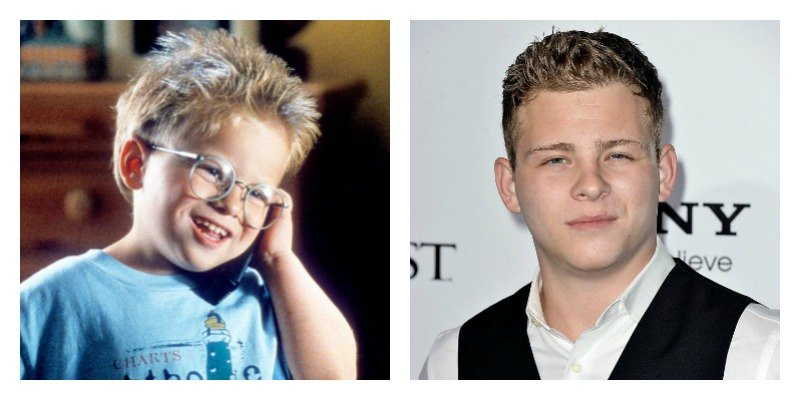 On the left is a picture of Jonathan Lipnicki talking on the phone in Jerry Maguire. On the right is a picture of Jonathan Lipnicki on the red carpet.
