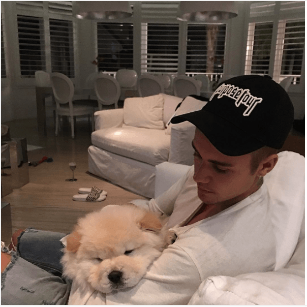 Justin Bieber with his dog, Todd