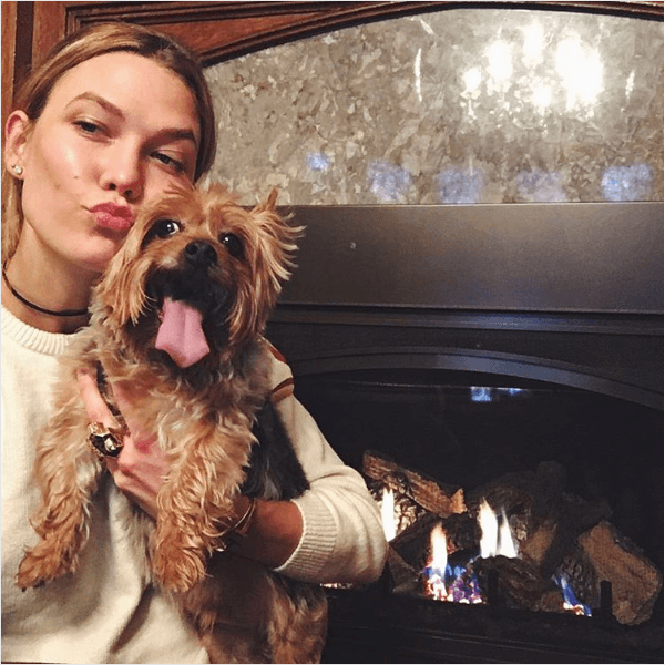 Karlie Kloss with her dog
