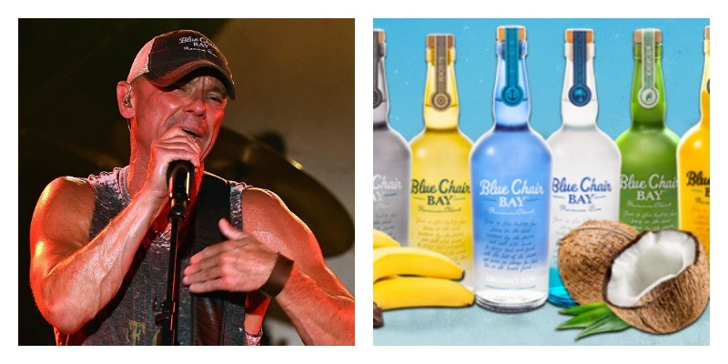 On the left is Kenney Chesney singing. On the right is a picture of Blue Chair Bay bottles lined up