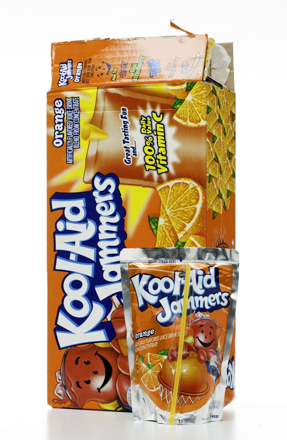 An opened box of orange flavored Kool-Aid Jammers