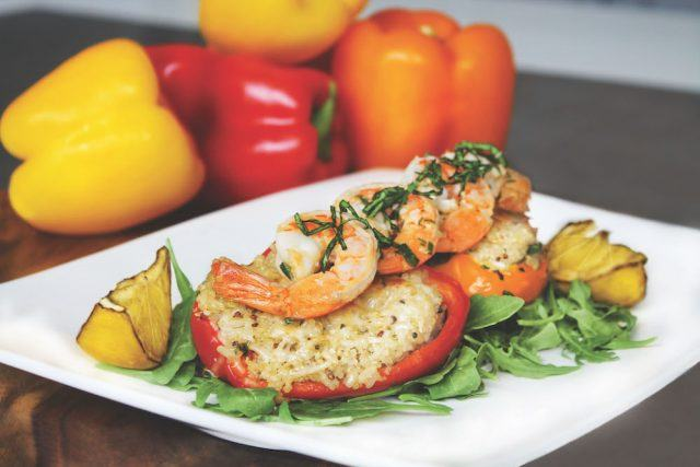 Quinoa Stuffed Peppers with Marinated Shrimp
