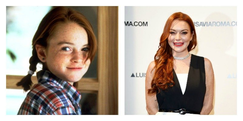 On the left is a picture of Lindsay Lohan in Parent Trap. On the right is a picture of her on the red carpet in 2017.