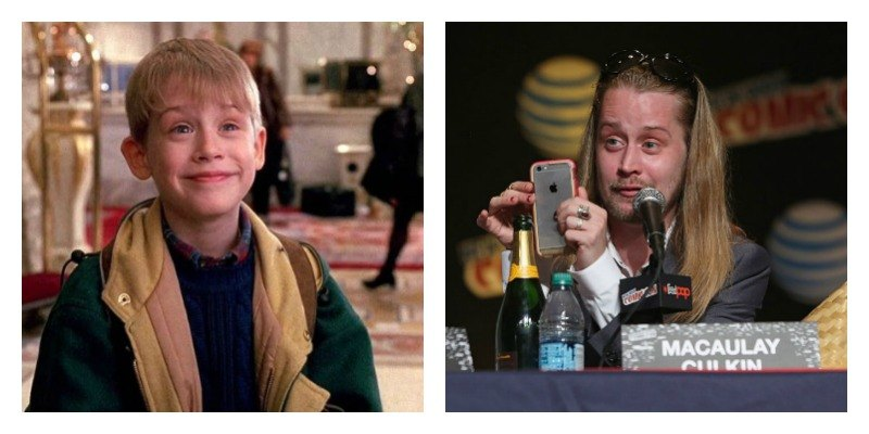 On the left is a picture of Macaulay Culkin in Home Alone. On the right is a picture of Macaulay Culkin taking a picture on his phone at a panel.