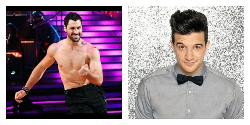 On the left is a picture of Maksim Chmerkovskiy dancing shirtless on Dancing with the Stars. On the right is a picture of Mark Ballas smiling on Dancing with the Stars.