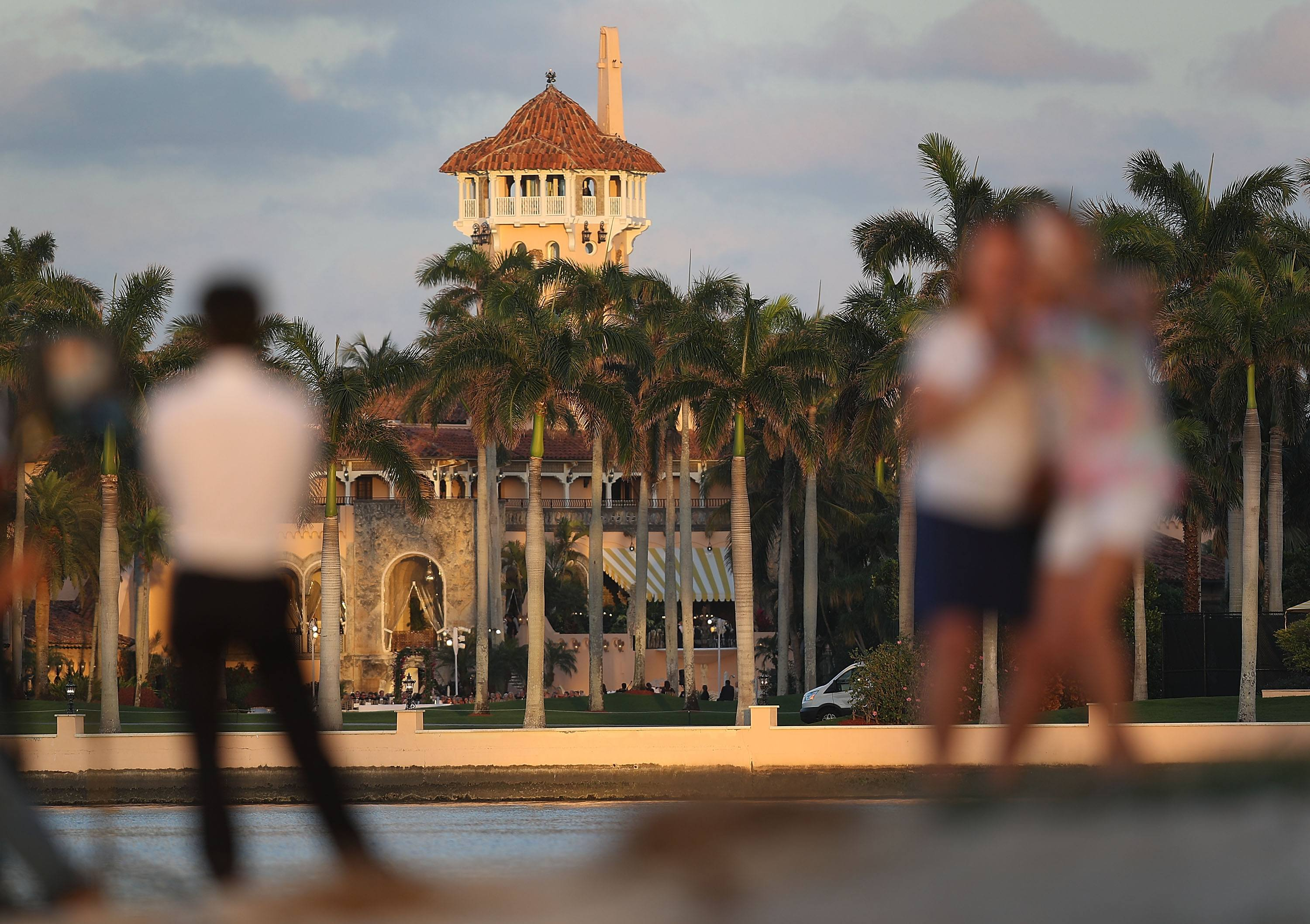 The Mar-a-Lago Resort is seen from a nearby beach.