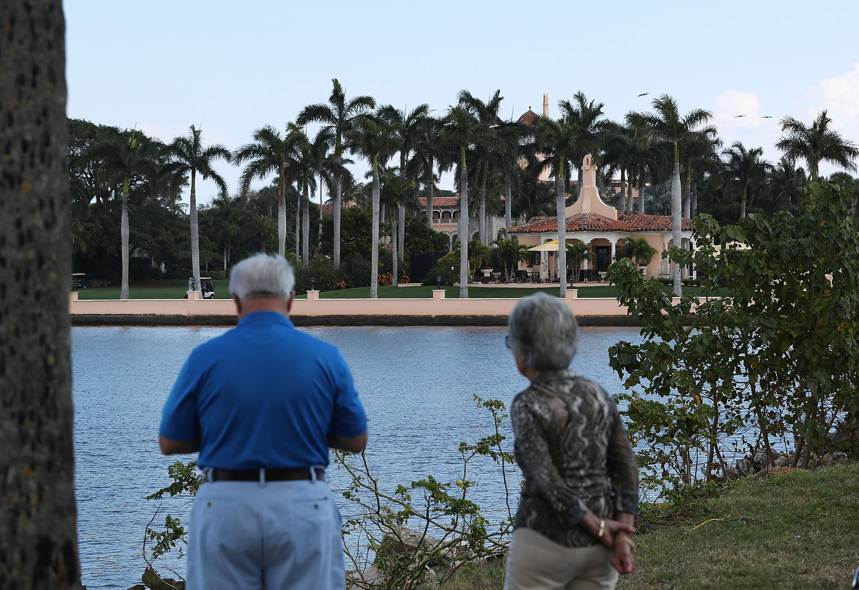 People look at the Mar-a-Lago Resort.