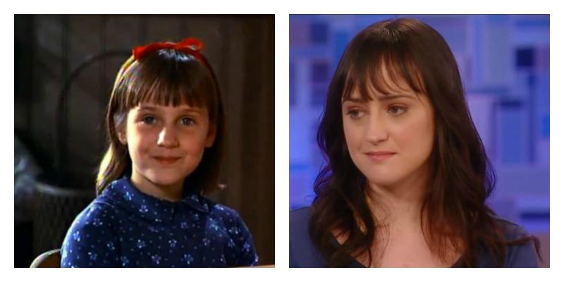 On the left is a picture of Mara Wilson in Matilda. On the right is Mara Wilson on Katie years later.