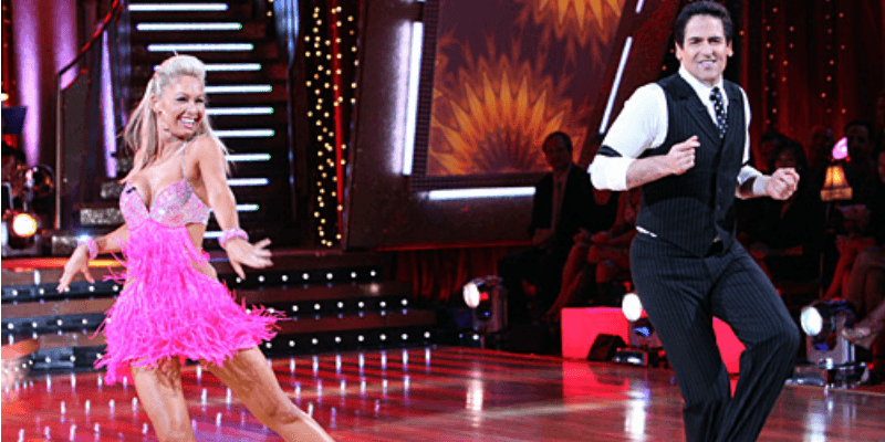 Mark Cuban and Kym Johnson dancing on Dancing With the Stars.