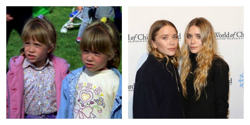 On the left is a picture of Mary-Kate and Ashley Olsen in To Grandmother's House We Go. On the right is a picture of Mary-Kate and Ashley Olsen on the red carpet.