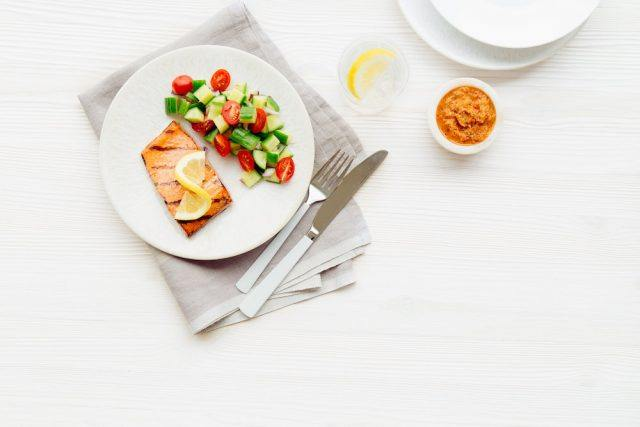 Mediterranean Grilled Salmon with Tomato Olive Tapenade