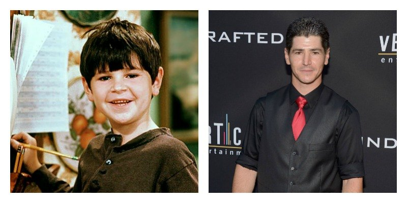 On the left is a picture of Michael Fishman on Roseanne. On the right is a picture of Michael Fishman on the red carpet.