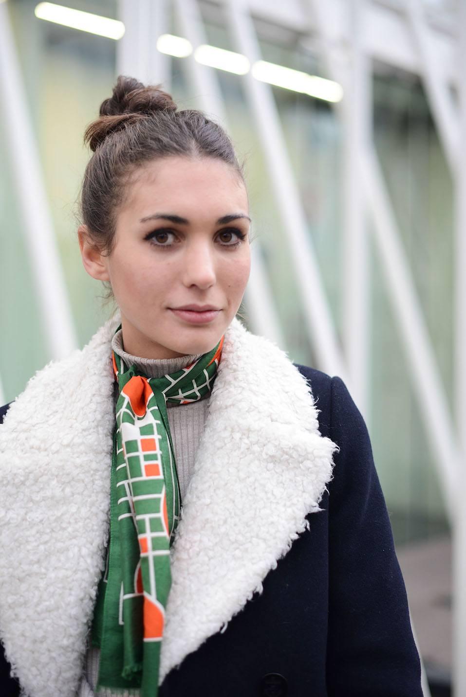 Diletta Bonaiuti poses wearing a Sandro coat