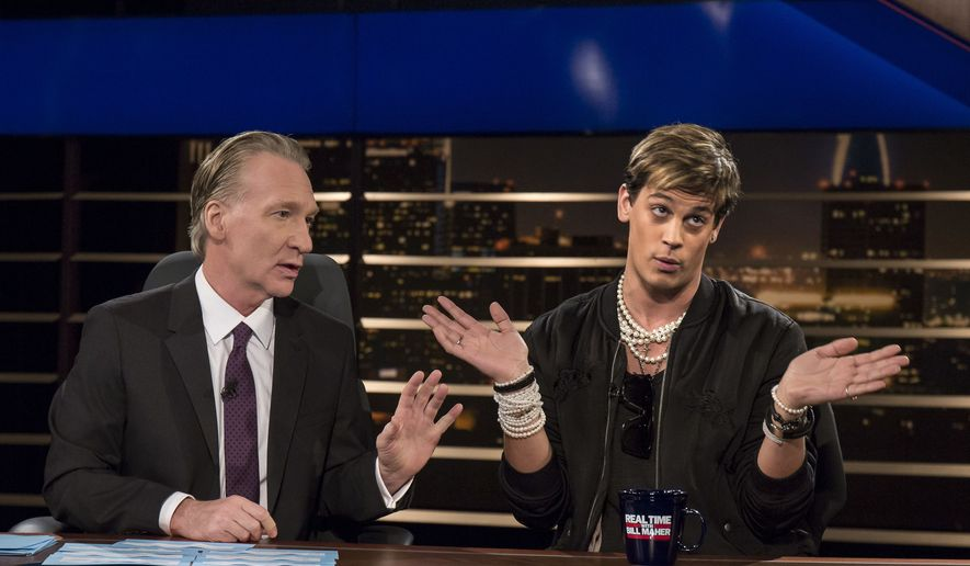 Bill Maher sits next to Milo Yiannopoulos, whose hands are splayed out