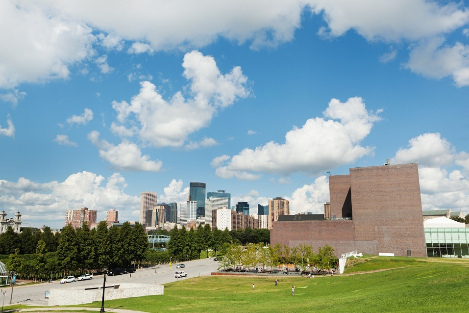 Downtown Minneapolis skyline with the Walker Art Center