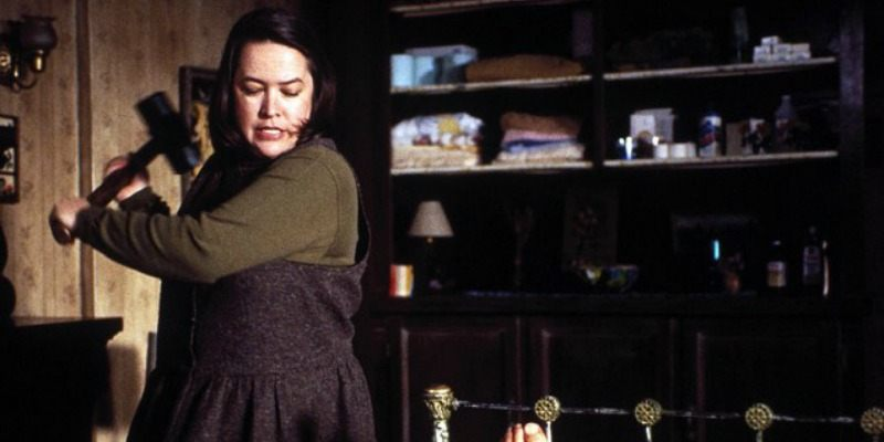 Annie Wilkes swings a sledgehammer in Misery.