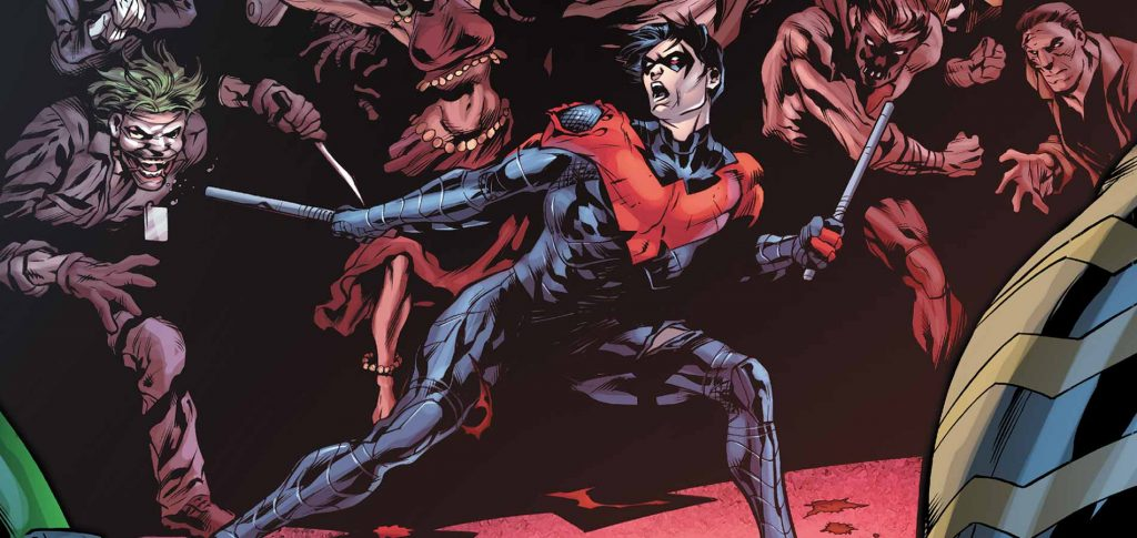Nightwing fighting off bad guys in DC's comics