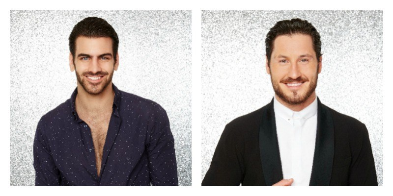 On the left is a picture of Nyle DiMarco smiling. On the right is a picture of Val Chmerkovskiy smiling.