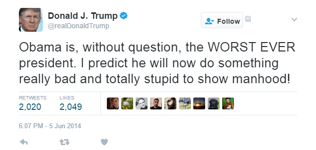 One of Donald Trump's tweets on Obama