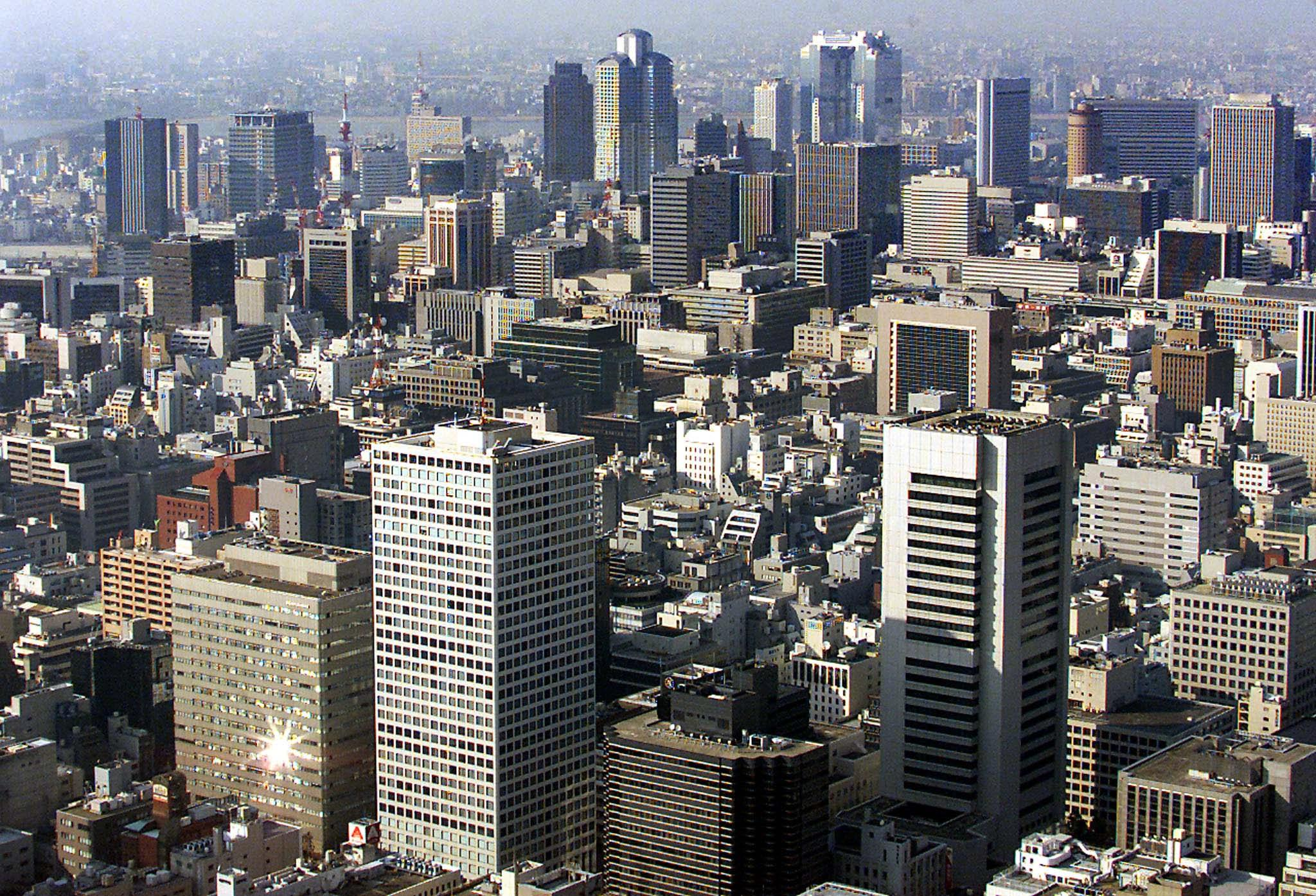 Central Osaka packed with skyscrapers