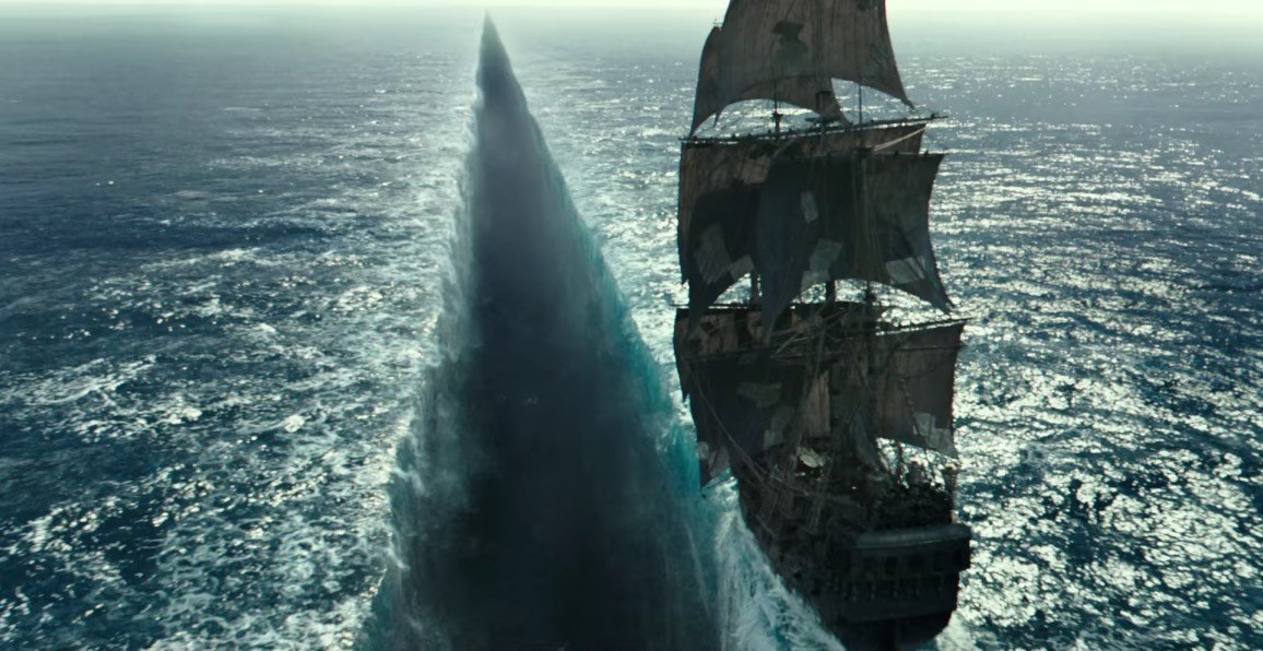A ship teeters on the edge of the sea in the new Pirates of the Caribbean