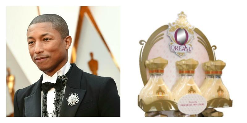 On the right is picture of Pharrell Williams on the red carpet. On the right is a picture of Qream stacked on a display