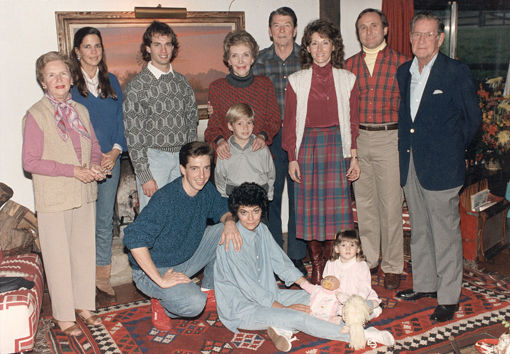 Former President Ronald Reagan and first lady Nancy Reagan with their family at Rancho del Cielo near Santa Barbara, California