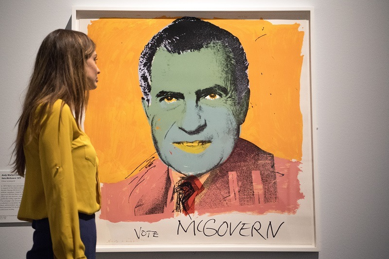 A work by Andy Warhol titled, Vote McGovern 1972
