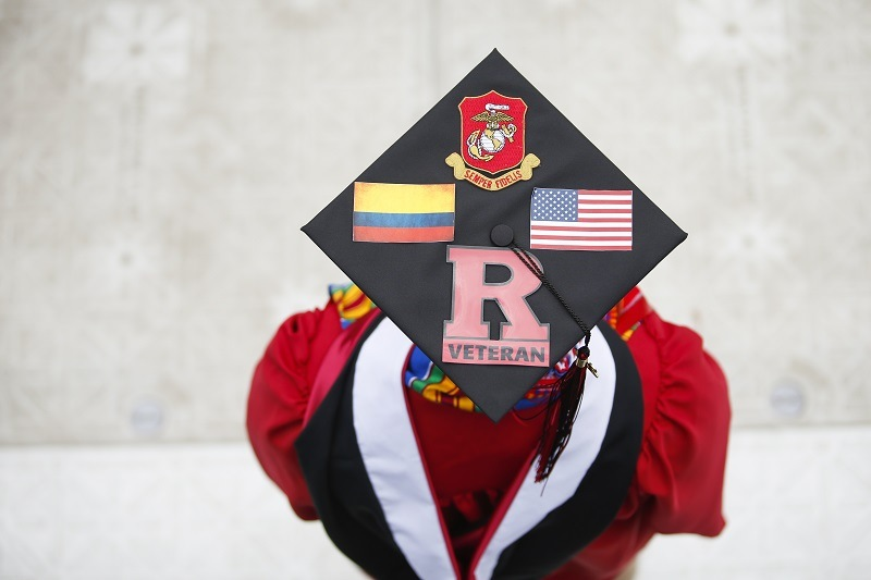 A student at Rutgers University attends the 250th-anniversary commencement ceremony