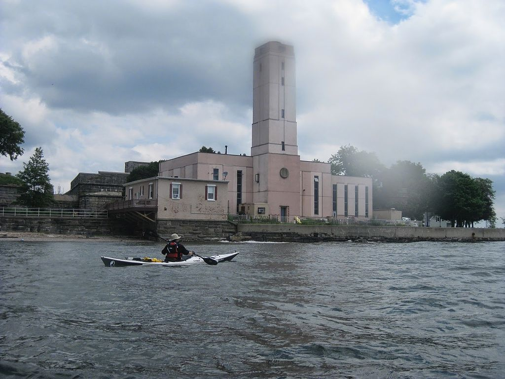 A view of SUNY Maritime College from the water.