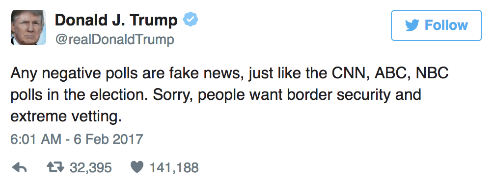 One of Donald Trump's tweets on negative polls