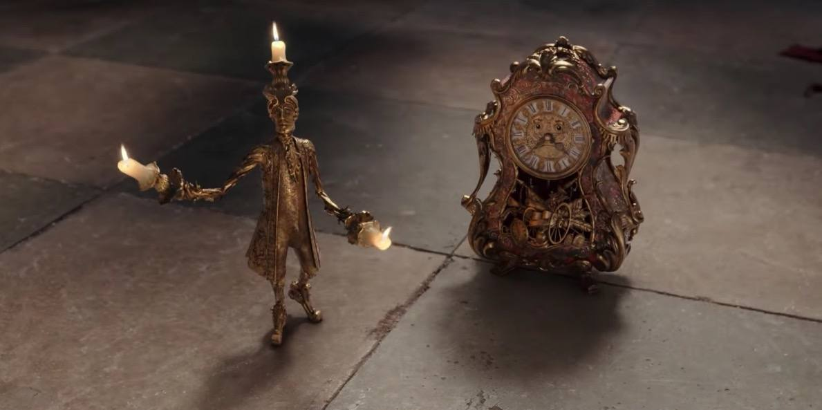 Lumiere and Cogsworth in Beauty and the Beast